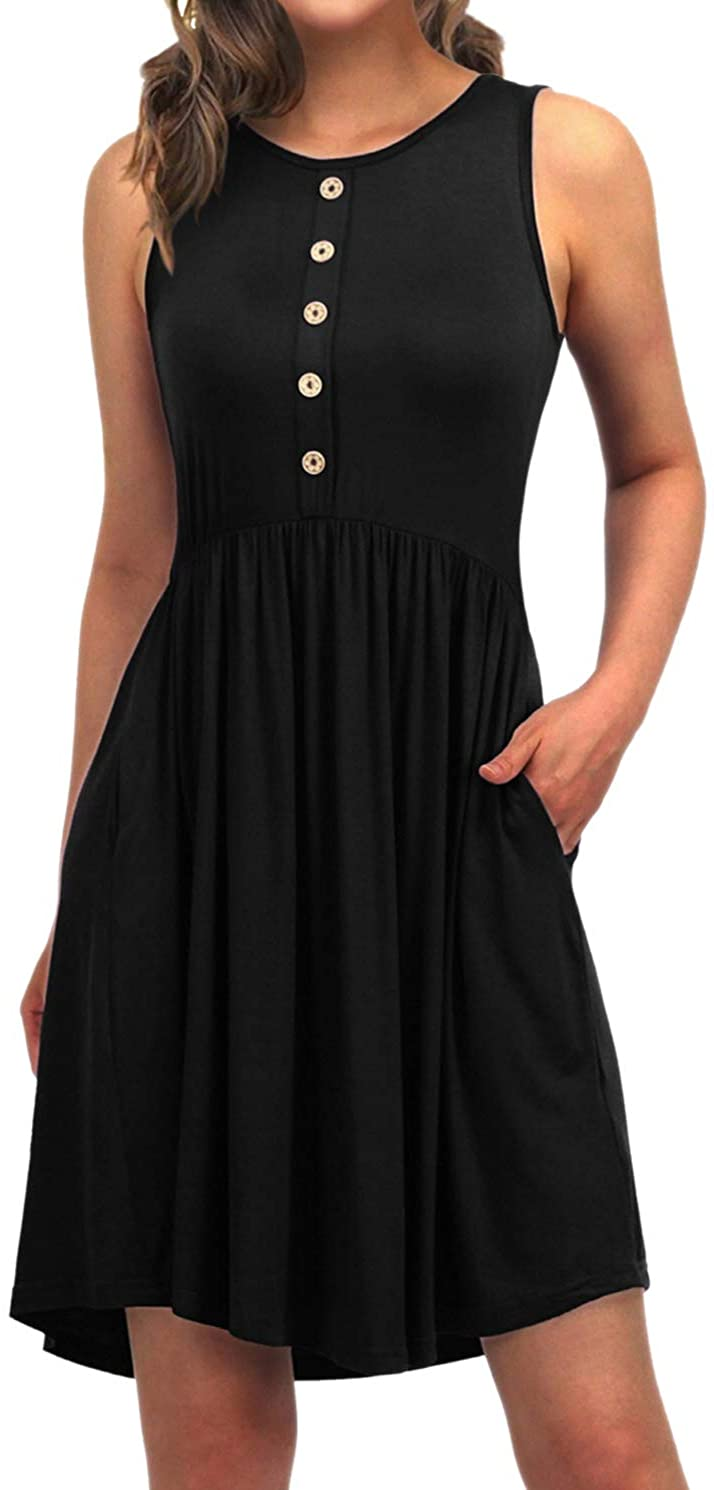 EASYDWELL Sleeveless Casual Summer Tshirt Dress with Pockets Sundresses for Women