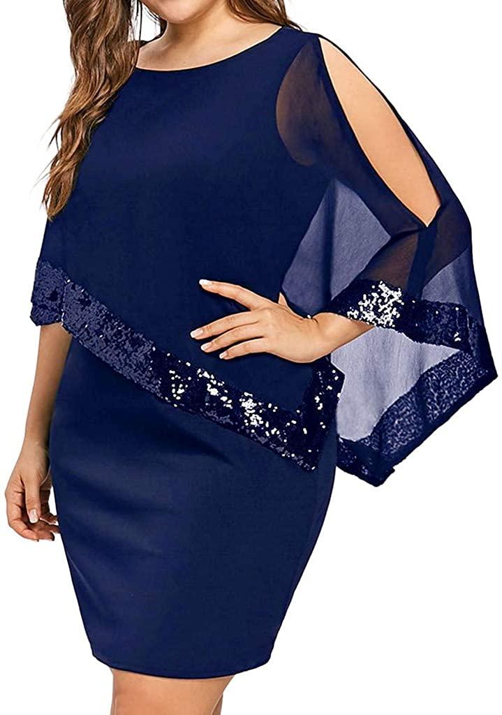 Shakumy Women Plus Size Chiffon Overlay Asymmetric Cold Shoulder Sequin Splice Mini Dress Casual Summer Cocktail Party Dress