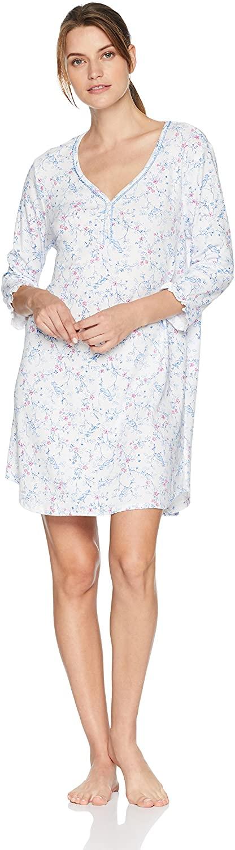 Karen Neuburger Women's 3/4 Sleeve Nightshirt Nightgown Pajama Dress Pj