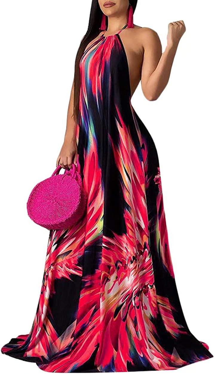 ThusFar Women's Sexy Beach Halter Floral Stripes Backless Night Party Clubwear Loose Full Length Long Maxi Swing Dress