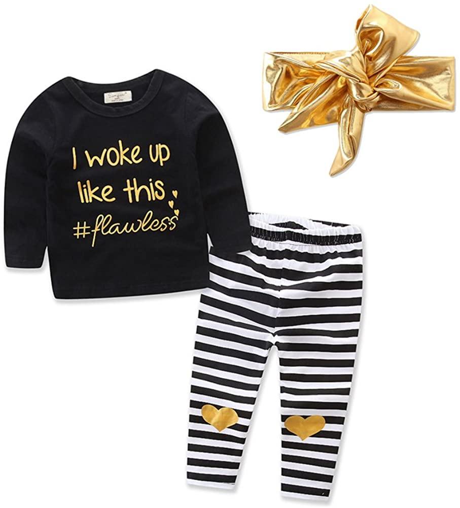 Baby Toddler Girl Long Sleeve Balck Top+Stripe Pants+Gold Headband 3Pcs Set