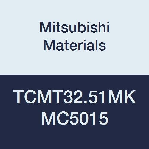 Mitsubishi Materials TCMT32.51MK MC5015 Coated Carbide TC Type Positive Turning Insert with Hole, Unstable Cutting, Triangular, 0.375