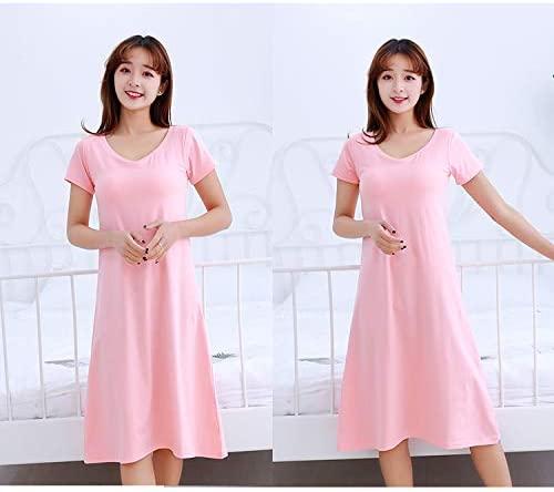 Women's Modal Built in Bra Padded Long Nightgown,Loungewear Women's Long Nightgown Round-Neck Short Sleeve Sleepshirts Dress Pink (M)