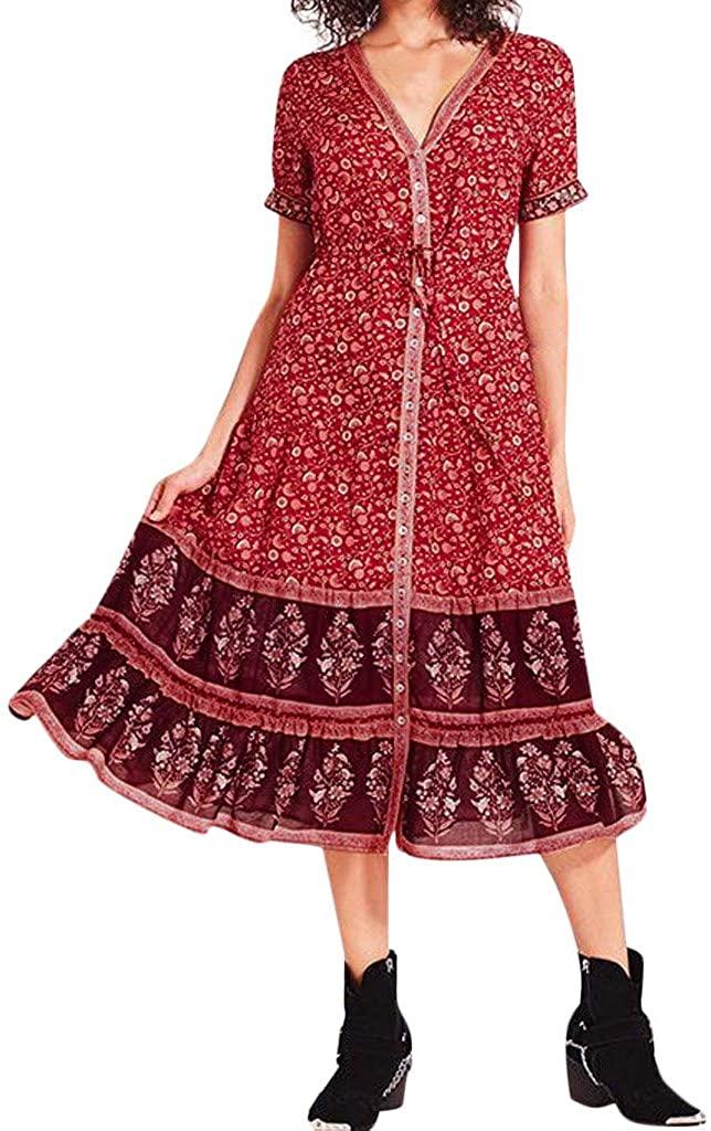 Adeliber Womens Dress Holiday Summer Bohemian Long Maxi Evening Beach Dress