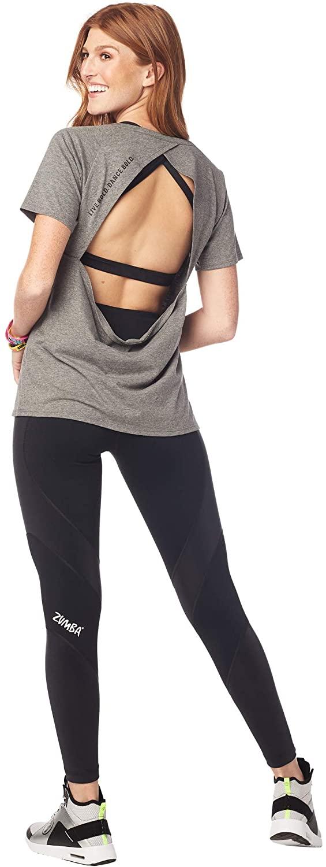 Zumba Sexy Active Wear Women's Dance Tops Workout Open Back Shirts for Women