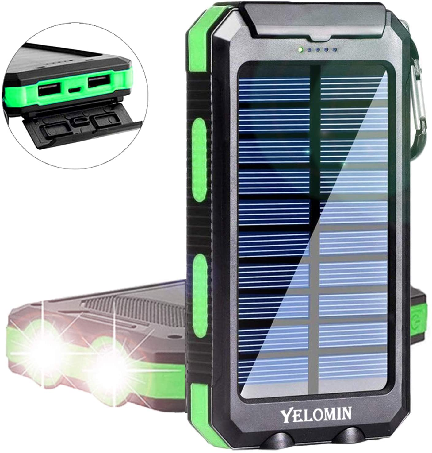 Solar Charger,Yelomin 20000mAh Portable Outdoor Mobile Power Bank,Camping Travel External Backup Battery Pack Dual USB 5V Outputs 2 LED Light Flashlight with Compass