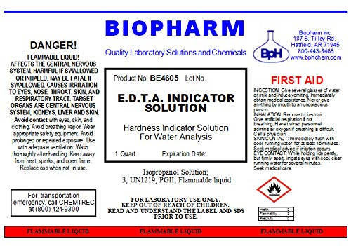 E.D.T.A. Indicator Solution for Hardness Titration: Eriochrome Black T with Triethanolamine (1 Quart) | Biopharm | Ethylene Diamine Tetra-Acetic Acid