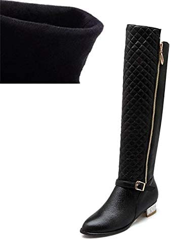 MaviGadget Square Heels Fur High Boots for Women Black