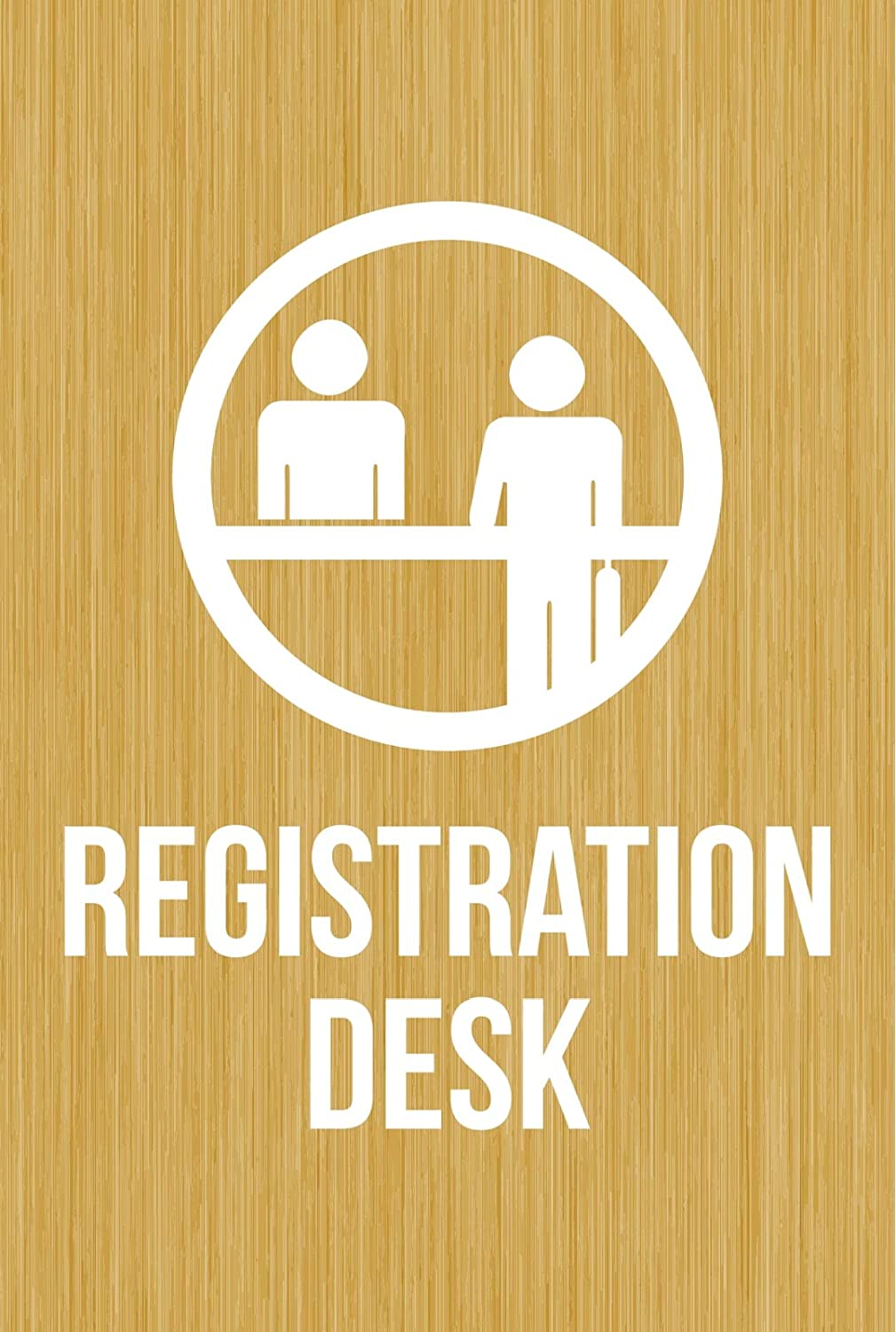 iCandy Products Inc Registration Desk Hotel Business Office Building Sign 12x18 Inches, Bamboo, Metal