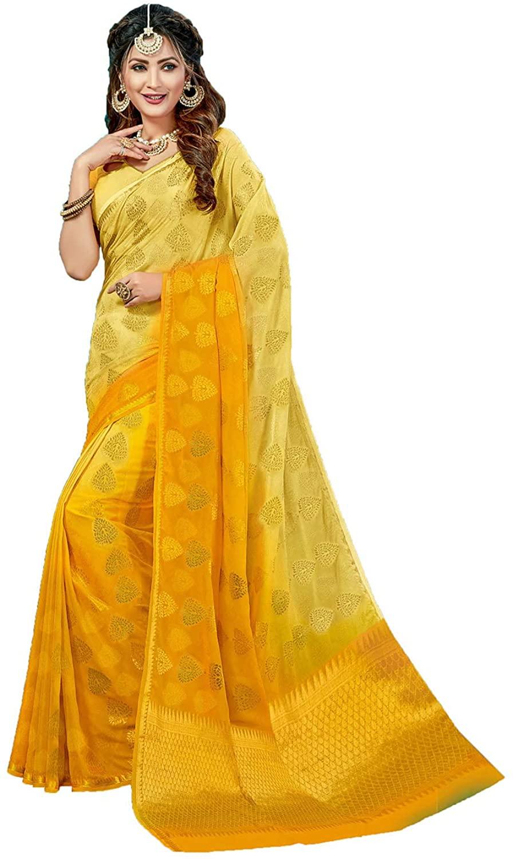 Indian Saree for Women Ethnic Sari Yellow Creap Silk Sari with Unstitched Blouse. ICW2732-1