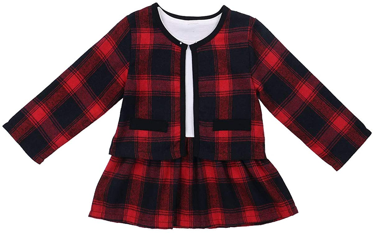 Toddler Baby Girl Plaid Dress Coat Jacket Top Tutu Skirt Dresses Fashion Fall Winter Clothes Formal Outfit Set