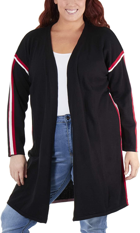 Plus Size Racer Stripe Open Front Cardigan