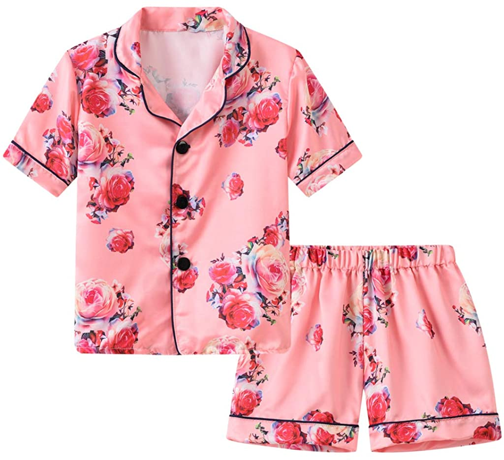 Toddler Baby Girls Pajamas Outfits Floral Printed Button Shorts Tops Bottom Shorts Summer Nightwear Clothes Set