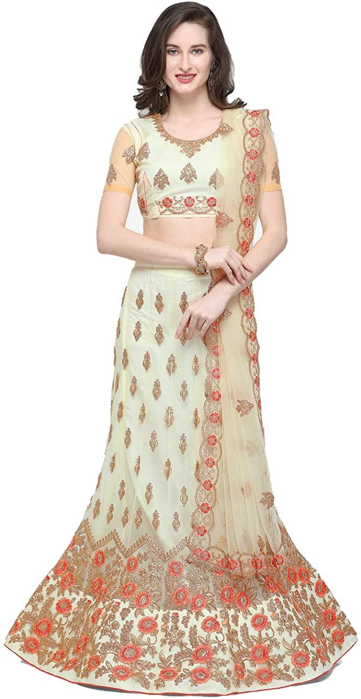 Indian Women Designer Partywear Ethnic Traditional Cream Lehenga Choli.ICW2793-1