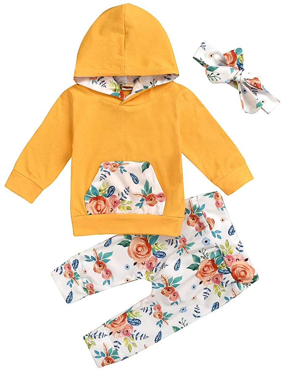 Baby Girl Clothes Valentines Long Sleeve Floral Hoodie Sweatshirt Pants with Pocket Headband Infant Outfit Sets