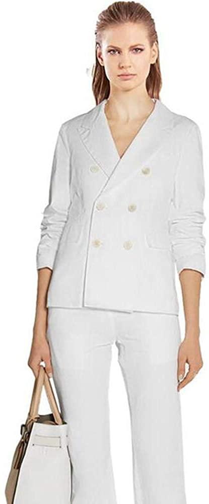 Women's Peak Lapel Slim Fit Double Breasted White 2 Pieces Business Suit Wedding Suit
