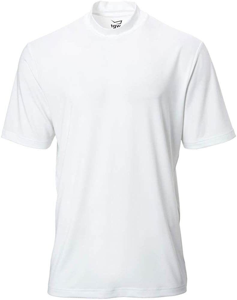 TGW Men's Solid Short Sleeve Performance Golf Mock White 3XL