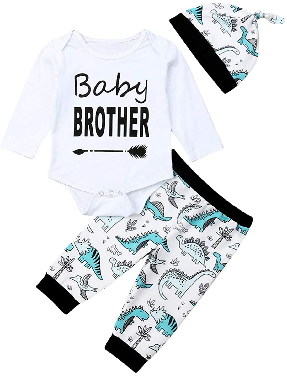 Newborn Infant Baby Boy Clothes Baby Brother Romper Tops + Legging Pants + Hat 3PCS Outfits Set