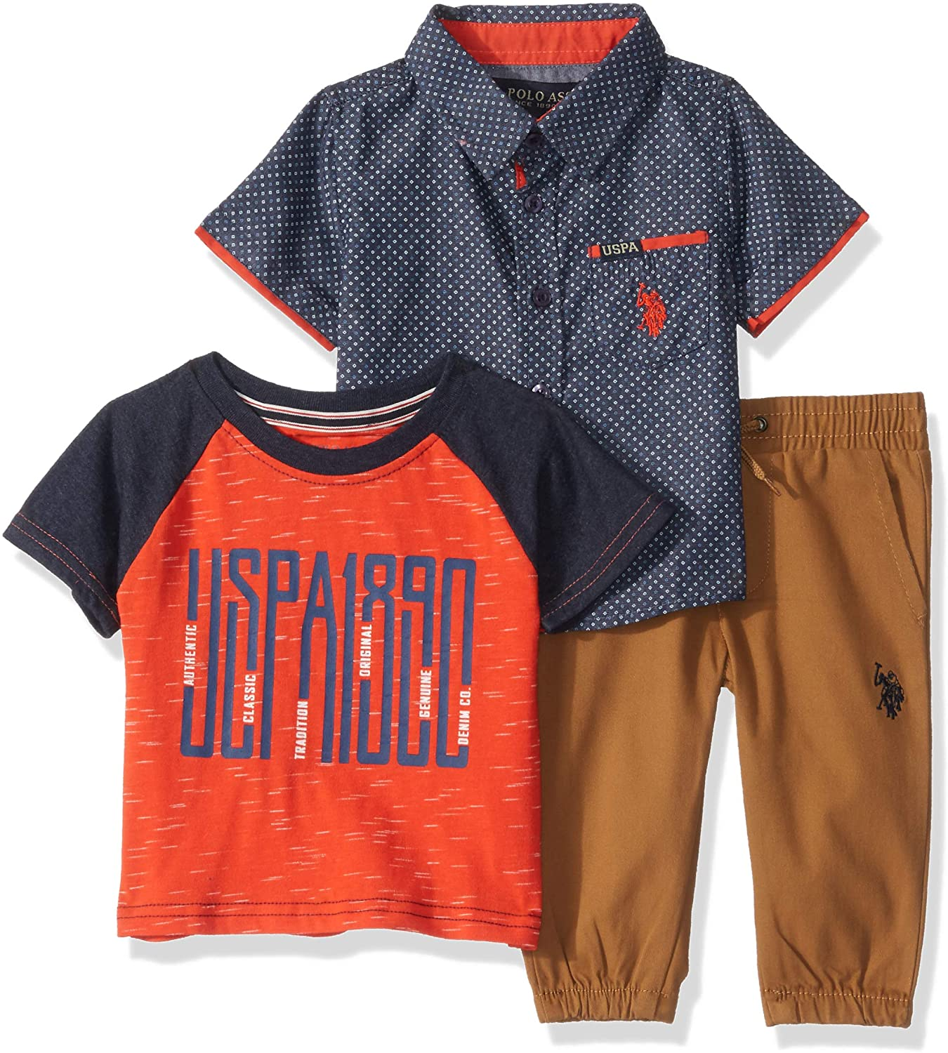 U.S. Polo Assn. Baby Boy's Short Sleeve Printed Woven Shirt, T-Shirt, and Jogger Set Pants