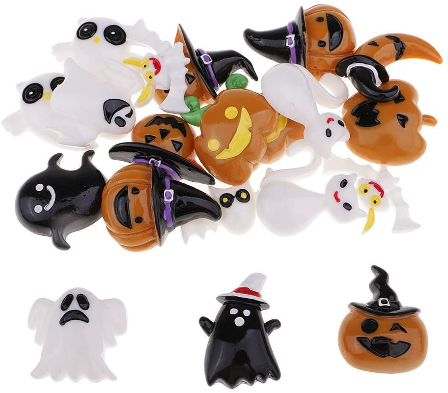20pcs Halloween Flatback Cabochons Resin Flatback Flat Back Halloween Craft Embellishment Pumpkin Skeleton Owl Bat Cat Cabochon Buttons Scrapbooking Charm DIY Craft