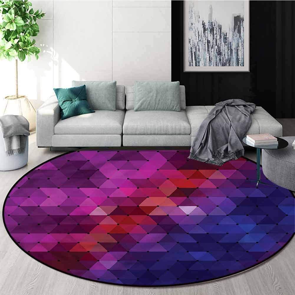 RUGSMAT Modern Small Round Rug Carpet,Rainbow Colored Geometric Home Decor Foor Carpet Diameter-59