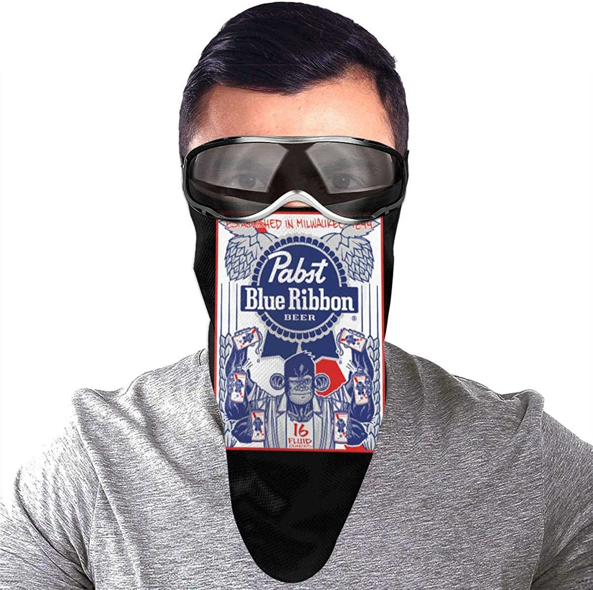 Triangle Face Mask With Pocket Pabst Blue Ribbon Beer Protection Mouth Cover Neck Bandanas Scarf For Washable Outdoor Dust Sun Resitant Men Women