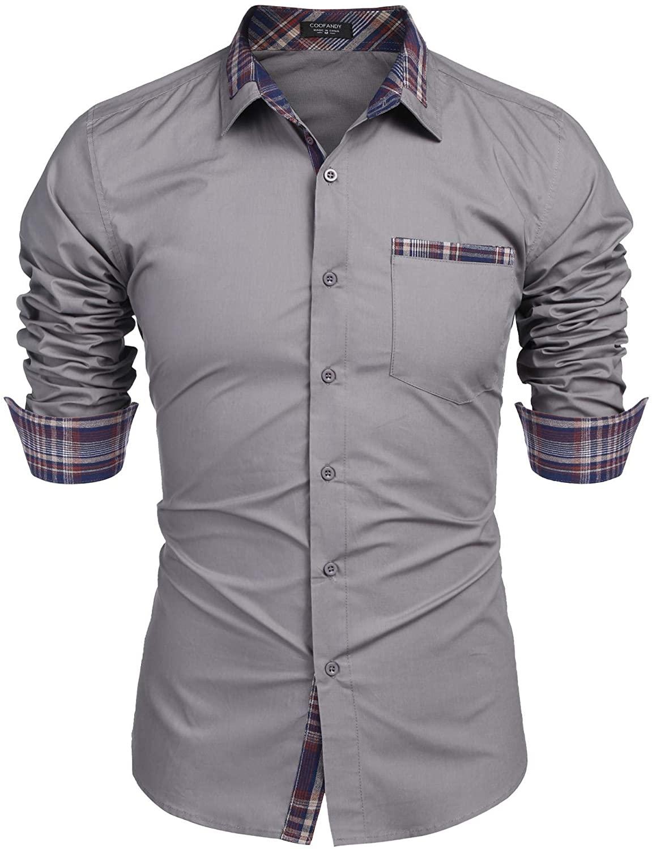 COOFANDY Men's Casual Cotton Slim Fit Dress Shirt Plaid Collar Long Sleeve Button Down Shirt