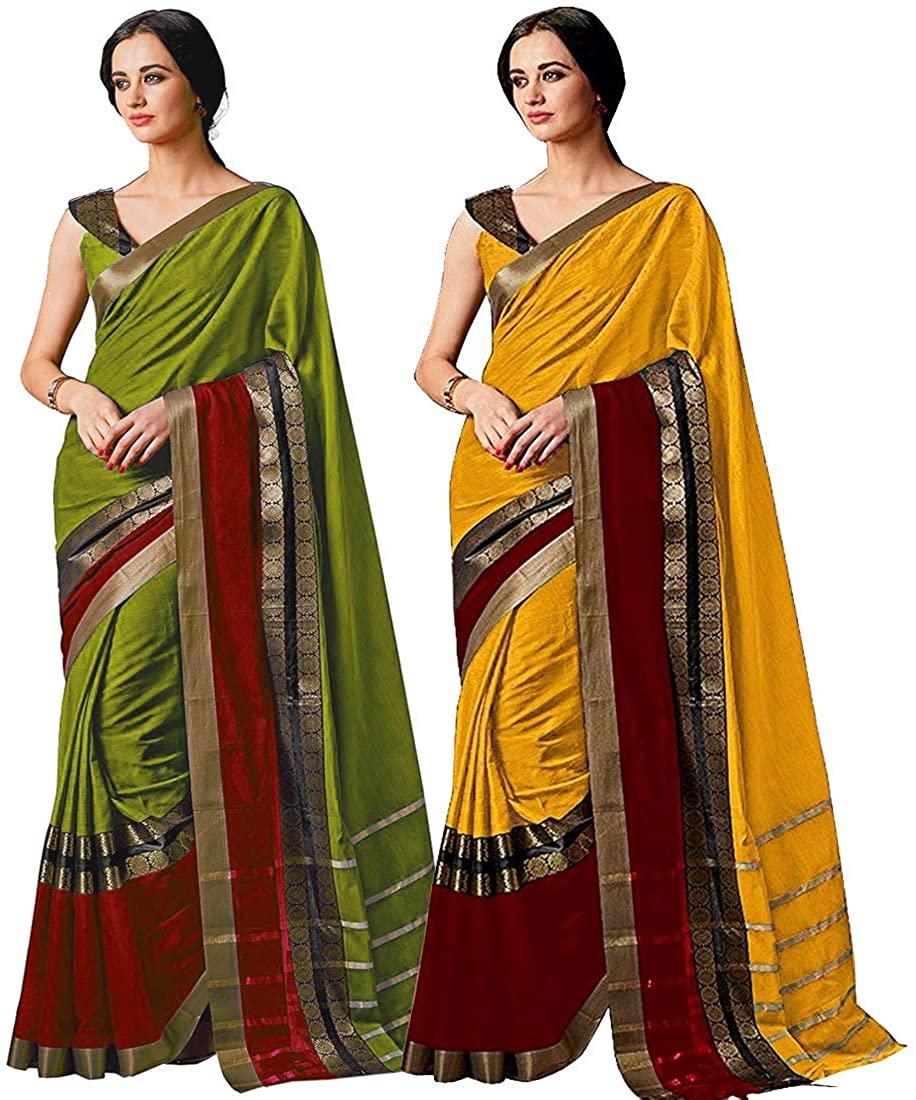 Indian Decor & Attire Cotton with Blouse Piece Saree (Pack of 2) (CHARMI-Combo-Pista-Gold_ Multicolor_ FS)