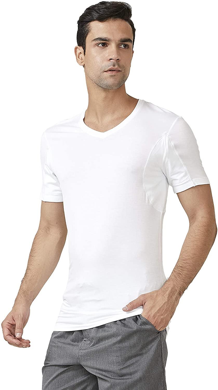 DAVID ARCHY 2 Pack Sweat Proof Undershirt for Men Soft Bamboo Rayon V-Neck Armpit Odor Defense T-Shirt Short Sleeve Tee