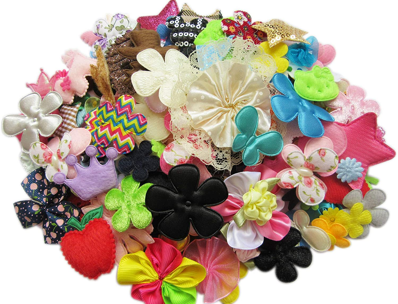 XiXiboutique 100 Mix Applique Scrapbooking Ribbon Flowers Bows Embellishment Sewing Craft