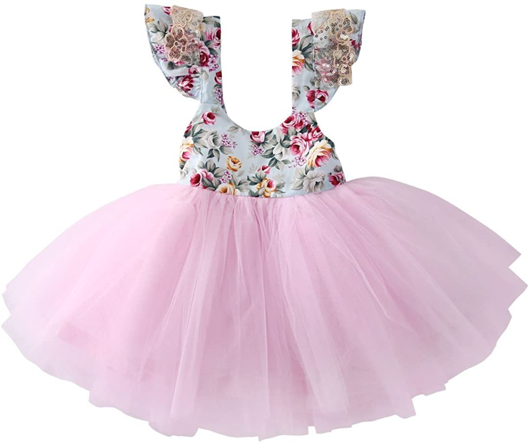 Newborn Toddler Baby Girls Floral Dress Party Ball Gown Lace Tutu Formal Dresses Sundress