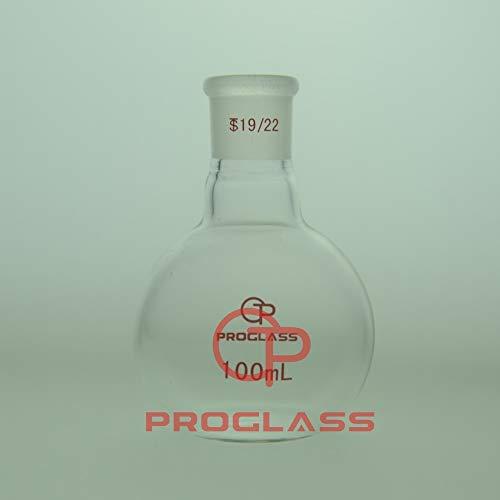 Proglass Glass Single Neck Flat Bottom Boiling Flask 100mL with 19/22 Glass Joint