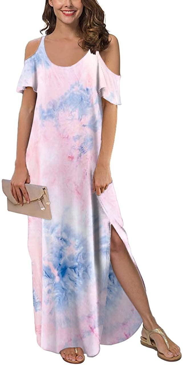 Womens Cold Shoulder Maxi Dress V Neck Short Sleeve Side Split Tie Dye Casual Long Dresses with Pockets