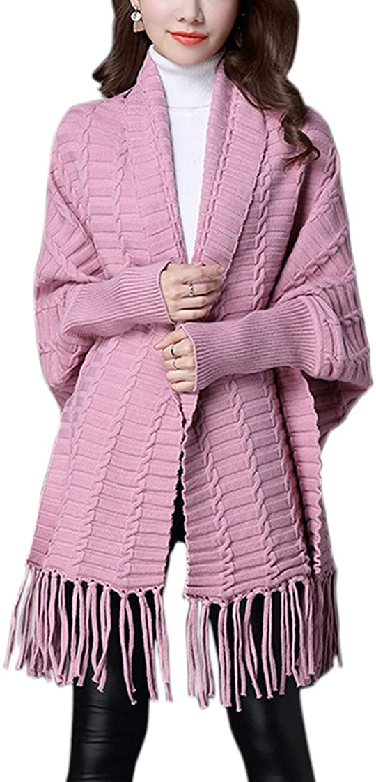 Engood Women's Soft Tassel Fashionable Solid Color Warm Poncho Shawl Cape Pashmina Cardigans Sweater Coat