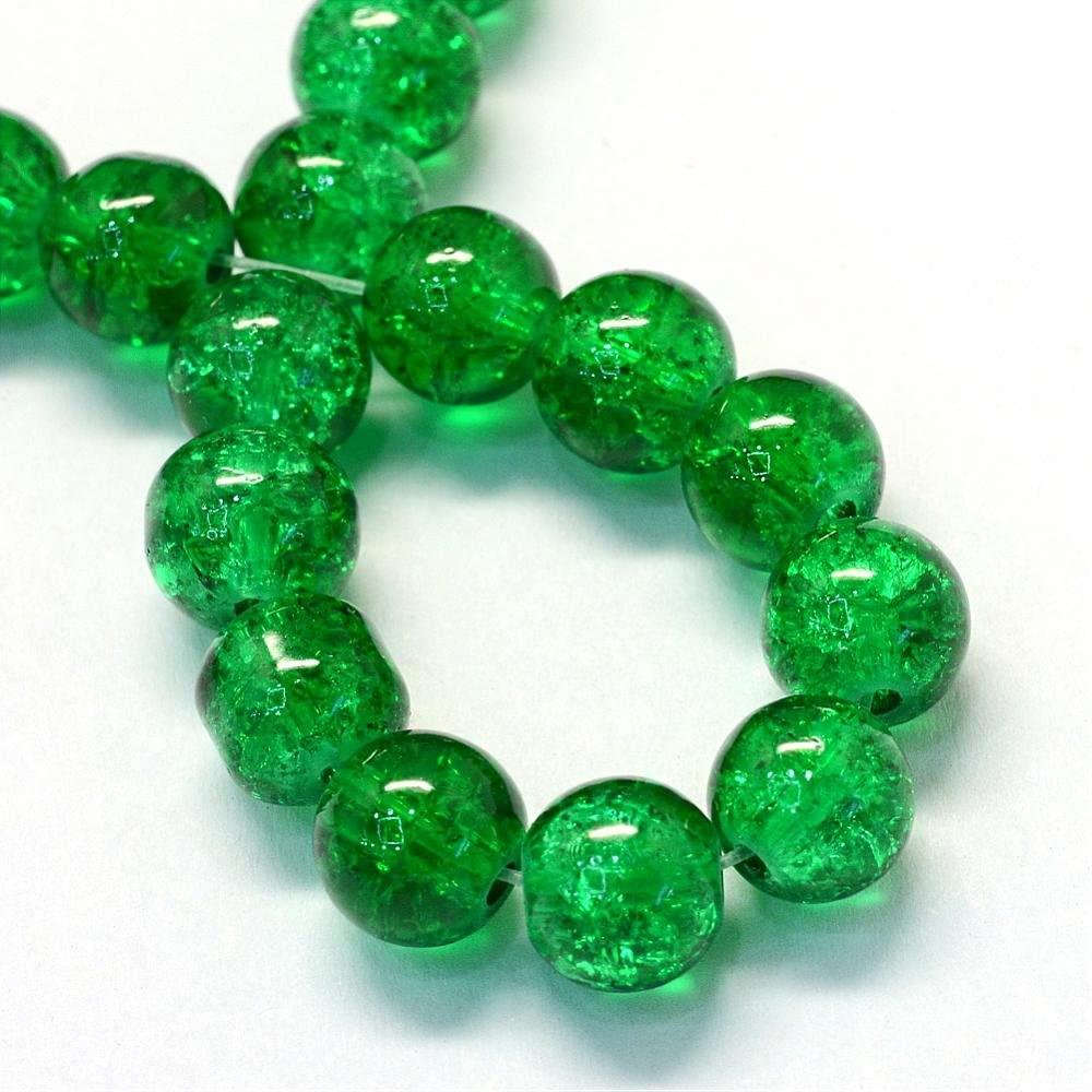 UnCommon Artistry Czech Crackle Glass Druk Round Beads (6mm, Emerald)