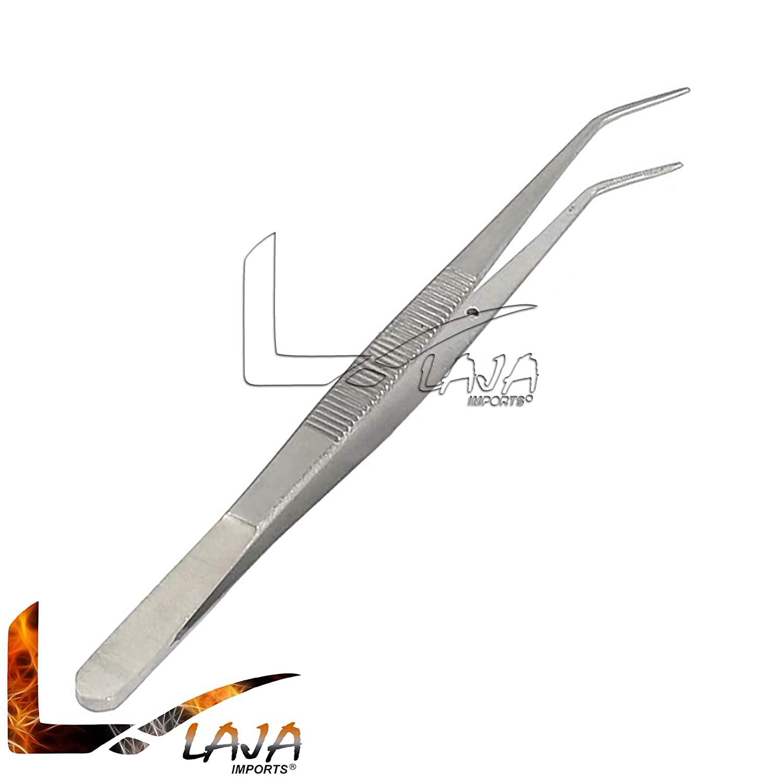 LAJA Imports Tick Tweezers 6-Inch Bent Stainless Steel Bent Serrated Tip
