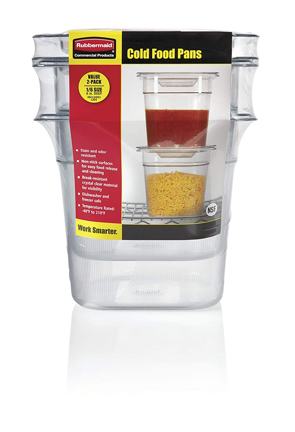 Rubbermaid Commercial Products 1815323 Cold Food Pan, Plastic, Clear (Pack of 2)