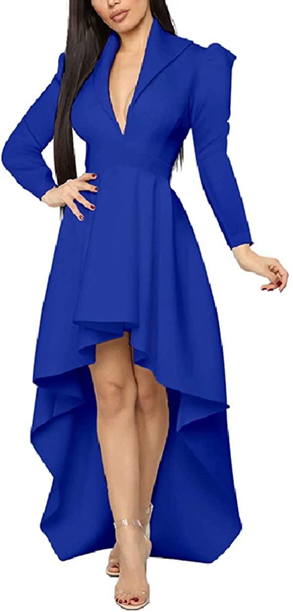 ThusFar Women's Sexy Wrap Deep V Neck Cap Sleeve Layer Peplum Ruffle High Low Tops Blouse Shirt Homecoming Party Dress