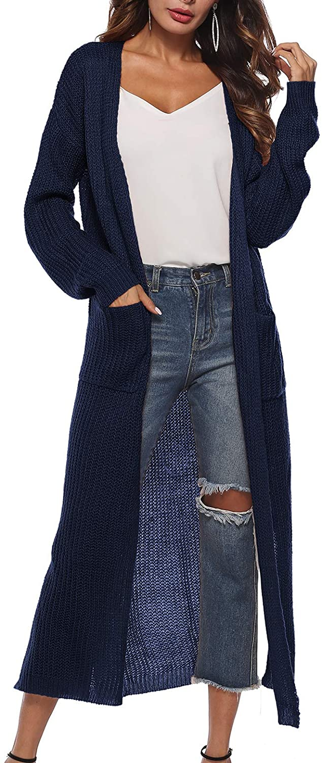 Doreyi Women's Open Front Solid Rainbow Knit Chunky Warm Long Cardigan Sweaters Fall