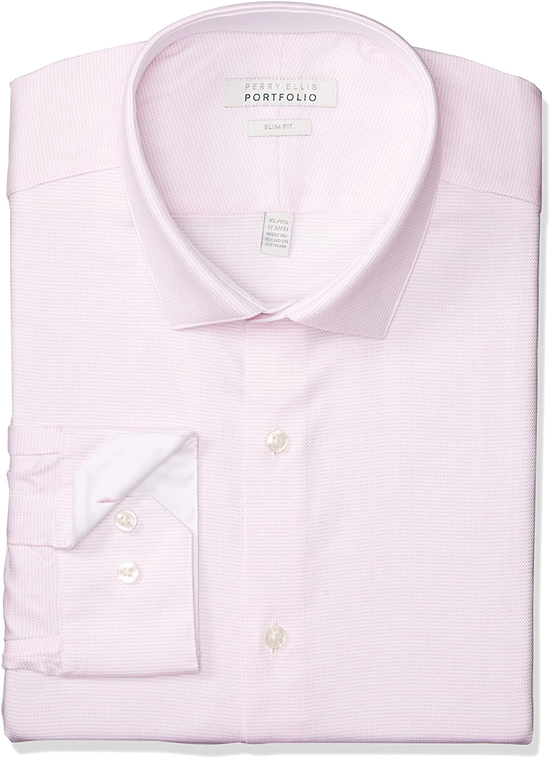 Perry Ellis Men's Slim Fit Wrinkle Free Fashion Dress Shirt