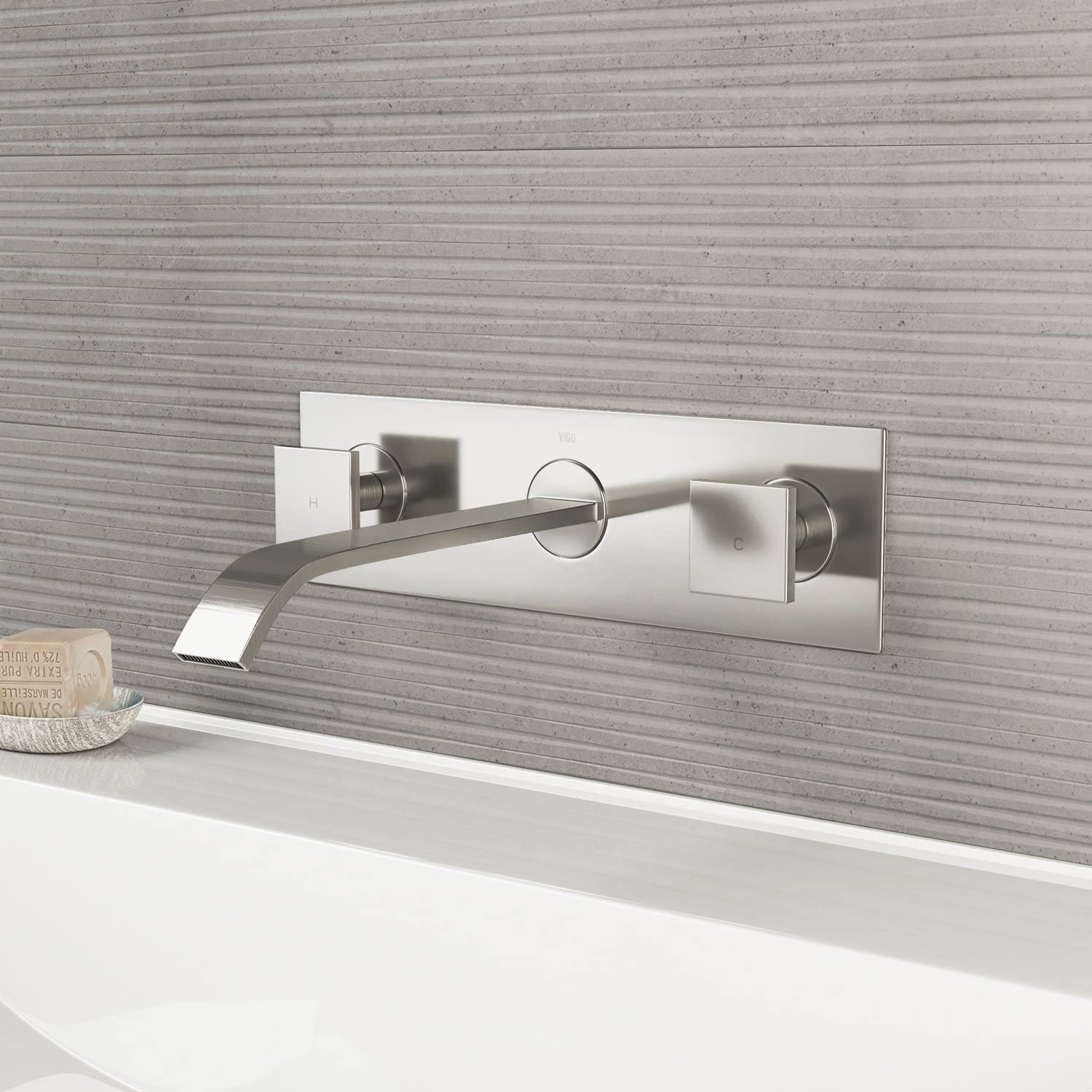 VIGO VG05002BN Titus Two Handle Wall Mount Bathroom Faucet, Brushed Nickel Lavatory Faucet, Unique Plated 7 Layer Finish