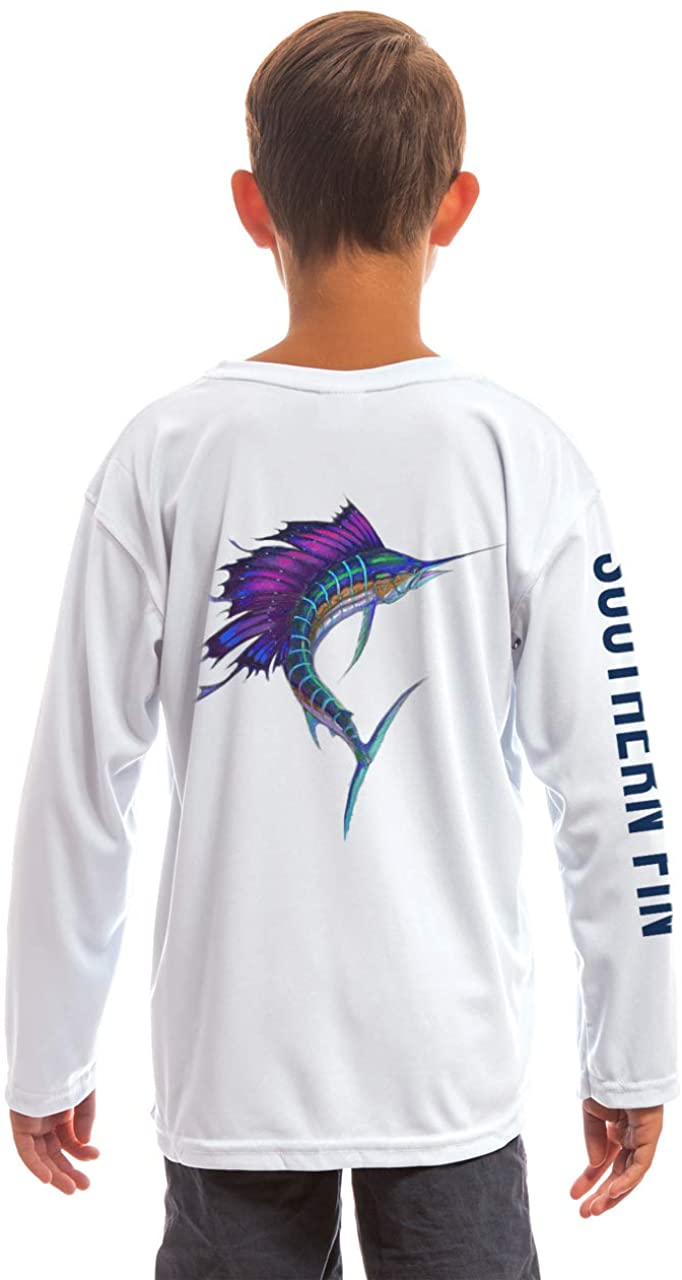 Southern Fin Apparel Youth Fishing Shirt for Kids Boys Girls Long Sleeve UV