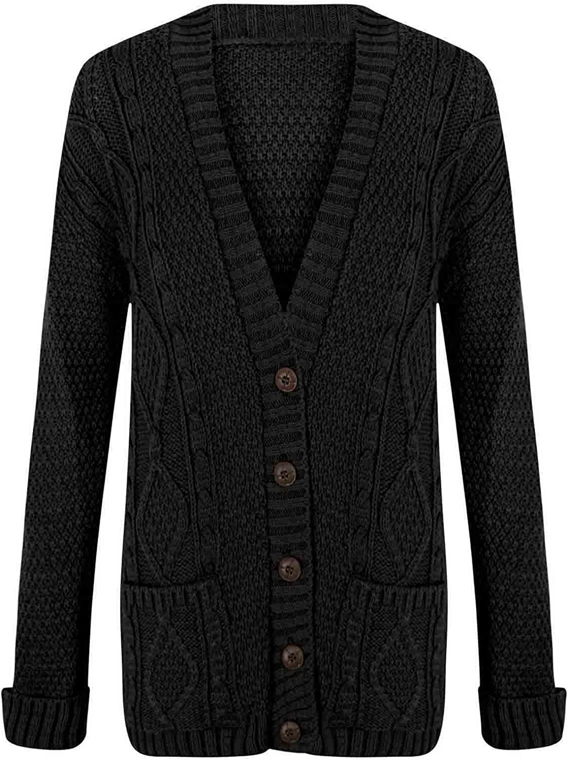 Ladies Long Sleeve Button Up Chunky Cabel Knitted Grandad Cardigan (S/M(8-10), Black)