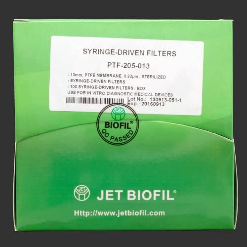 Syringe Filters, PTFE, 0.22 Micron, 13 mm, Sterile, Box of 100