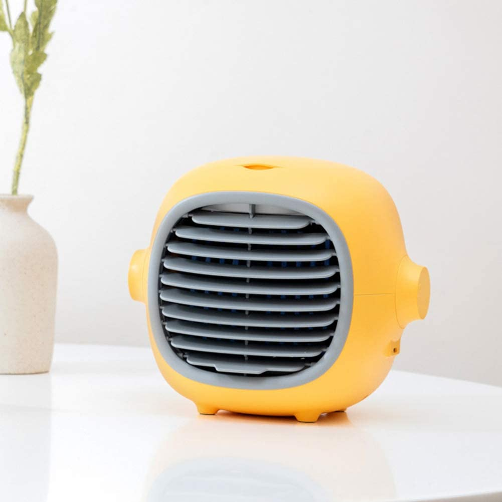 Mini Evaporative Cooler Air Cooler,Unlimited Adjustment of Wind Speed Air Conditioner Fan,Personal Quiet Table Fan Yellow