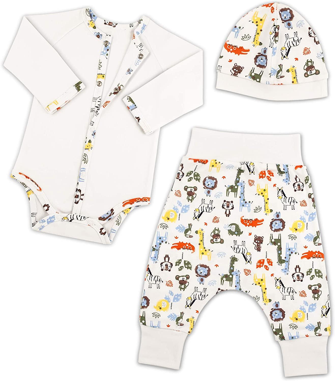 Bernisa Baby Girls Boys 3-Piece Unisex Onesies Long Sleeve Bodysuit, Pant and Cap Set