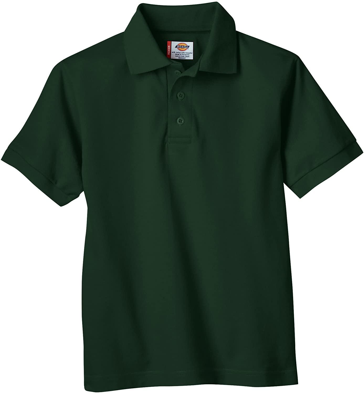 Dickies Little Boys' Short Sleeve Pique Polo Shirt, Hunter Green, Small (4)