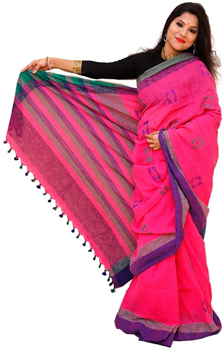 Handloom Pure Khadi Cotton Pink Saree with Stripped Pallu
