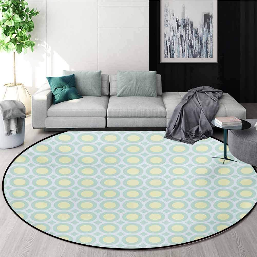 Aqua Modern Washable Round Bath Mat,Retro Circles Inner Dots 58S 70S Inspired Horizontal Artwork Non-Slip Bathroom Soft Floor Mat Home Decor,Diameter-31 Inch Yellow Pale Blue White And Seafoam