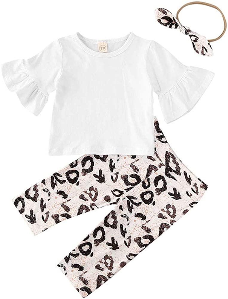Newborn Baby Girls Summer Legging Set Ruffles Bell Sleeve T-Shirt Top Leopard Pants Outfit Set